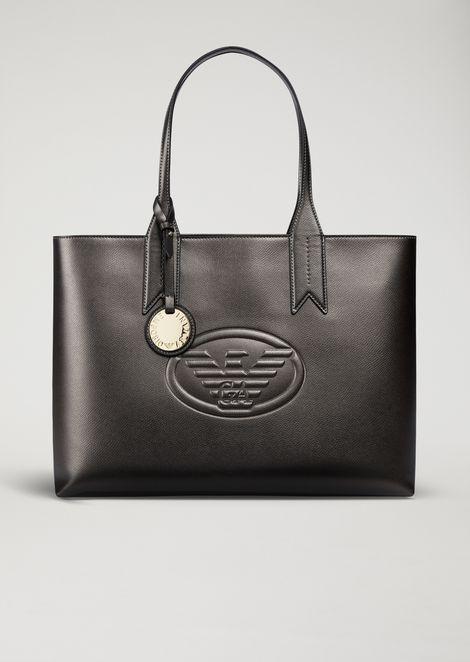 Metallic Tote Bag With Charm And Logo
