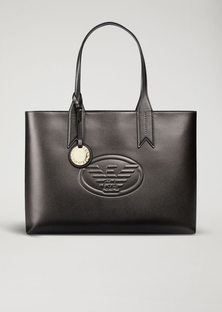 Metallic tote bag with charm and logo  d1b7d39502ebe