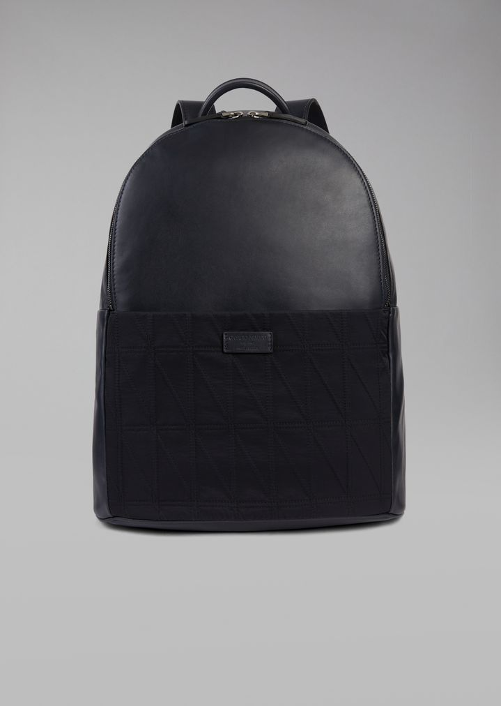 34ecce073 Backpack with diamond pattern fabric insert | Man | Giorgio Armani