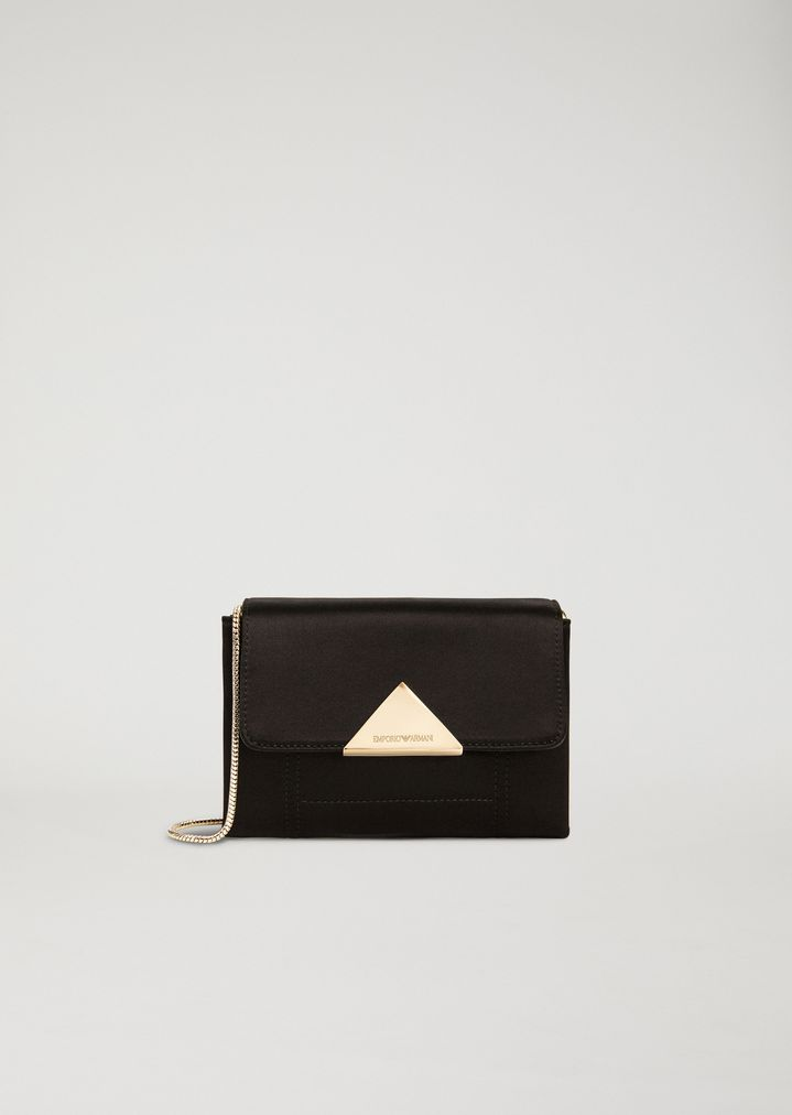 wide range how to buy brand new LEATHER AND SATIN CROSSBODY CLUTCH BAG   Woman   Emporio Armani
