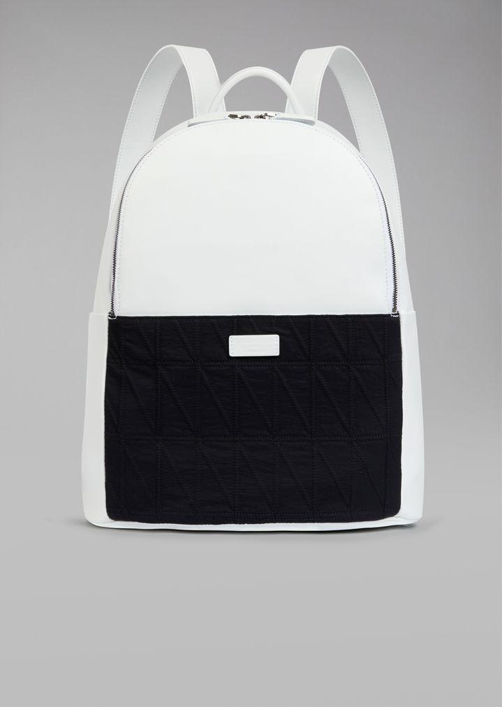 Backpack with diamond pattern fabric insert  2094da883f5a7