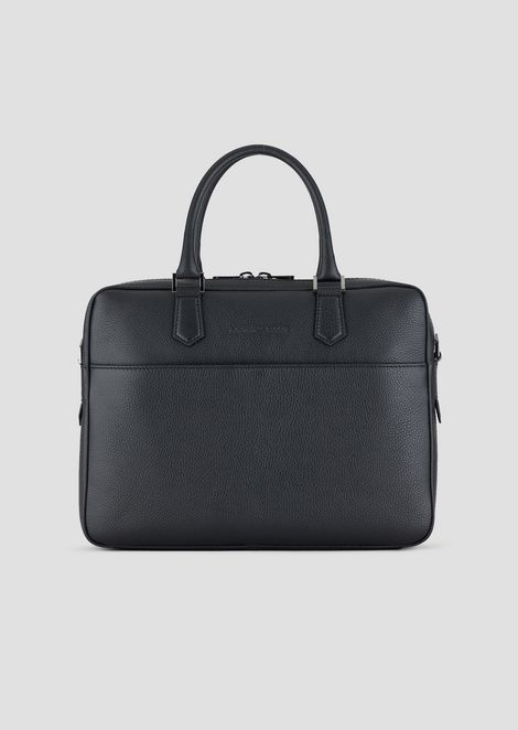 Grained leather briefcase with shoulder strap