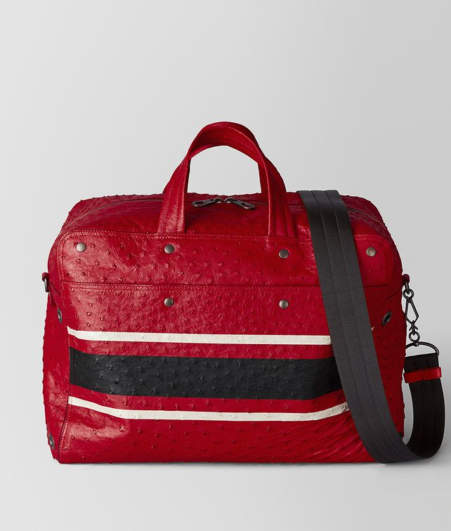 BOTTEGA VENETA DUFFEL BAG AUS STRAUSSENLEDER IN CHINA RED NERO Reisegepäckartikel Herren fp