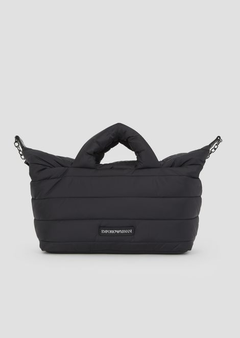 Padded Puffer Bag With Emporio Armani Logo Shoulder Strap