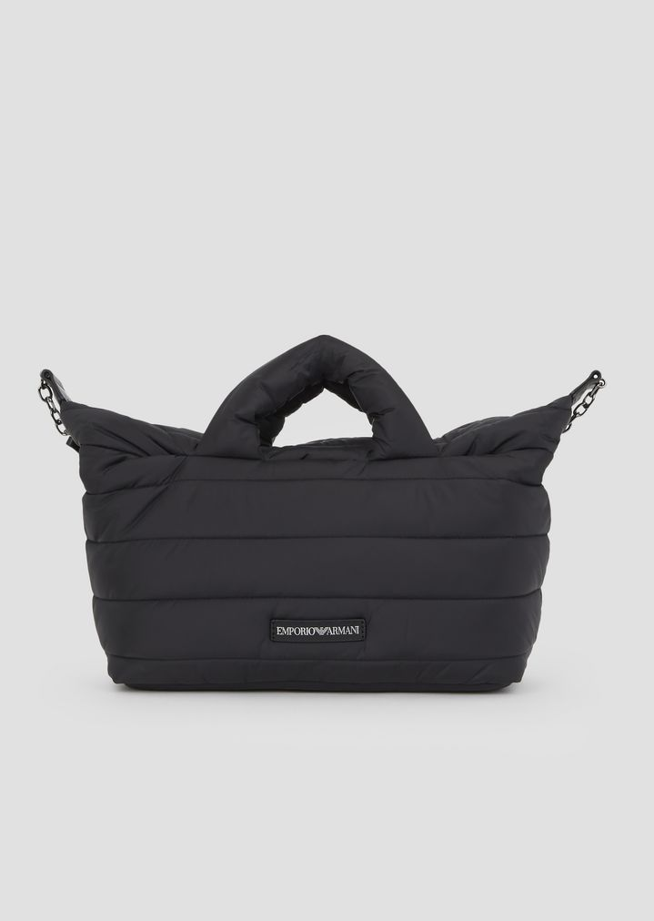 411b88457d75 Padded puffer bag with Emporio Armani logo shoulder strap