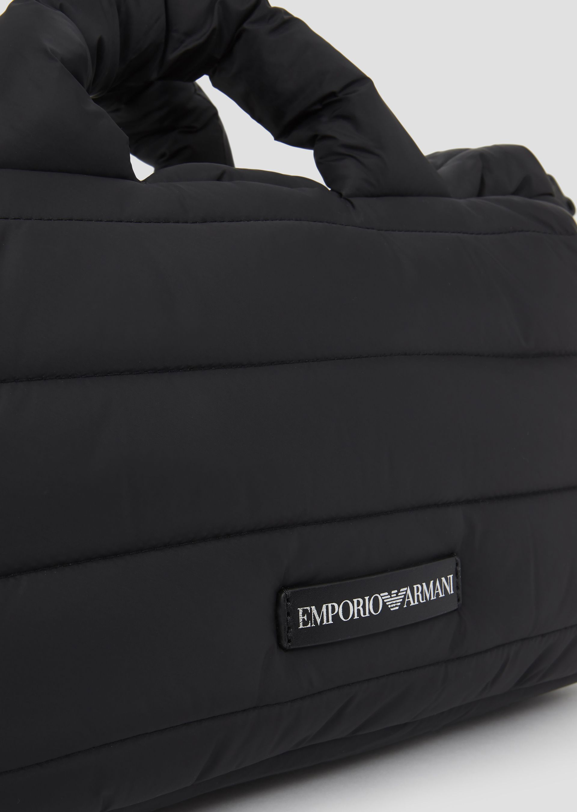 Emporio Armani - Padded puffer bag with Emporio Armani logo shoulder strap  - 6 7a0aff81c6c6b