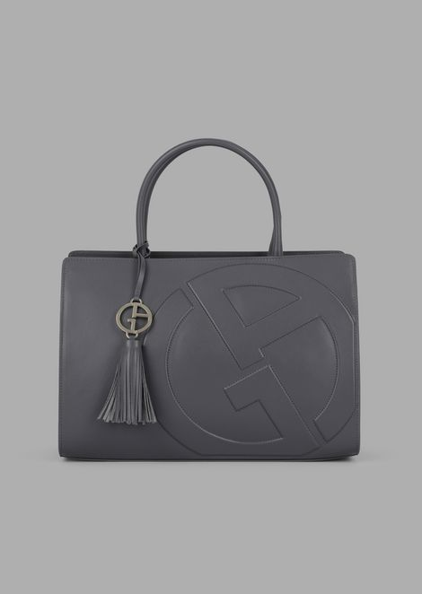 Leather Cabas Bag With Raised Ga Logo