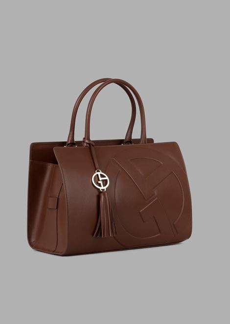 Cabas hand bag in leather with raised GA logo