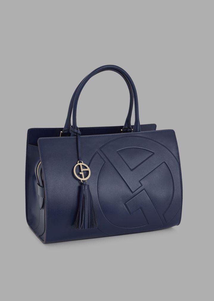Leather Cabas Bag With Raised Ga Logo Woman Giorgio Armani