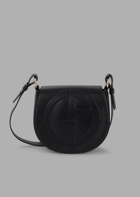 d516393283db Leather round crossbody bag with raised GA logo