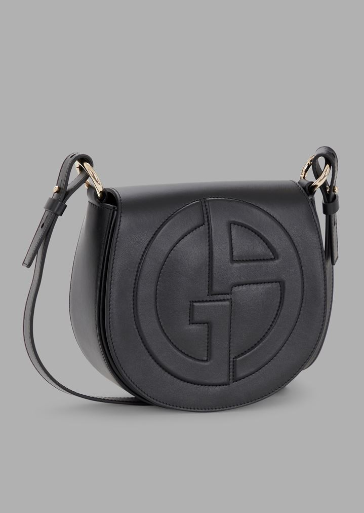 47cb4e1f3595 Leather round crossbody bag with raised GA logo
