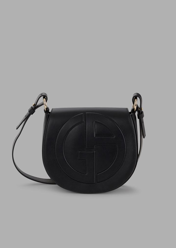 bc639a56e67a Leather round crossbody bag with raised GA logo