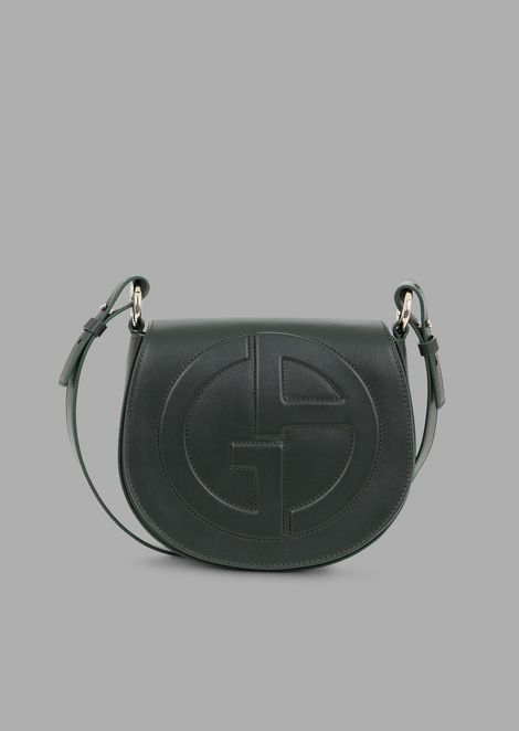 cfb1ab71d18d Leather round crossbody bag with raised GA logo