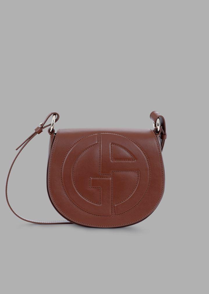 Leather round crossbody bag with raised GA logo  ccfc20c6b512c
