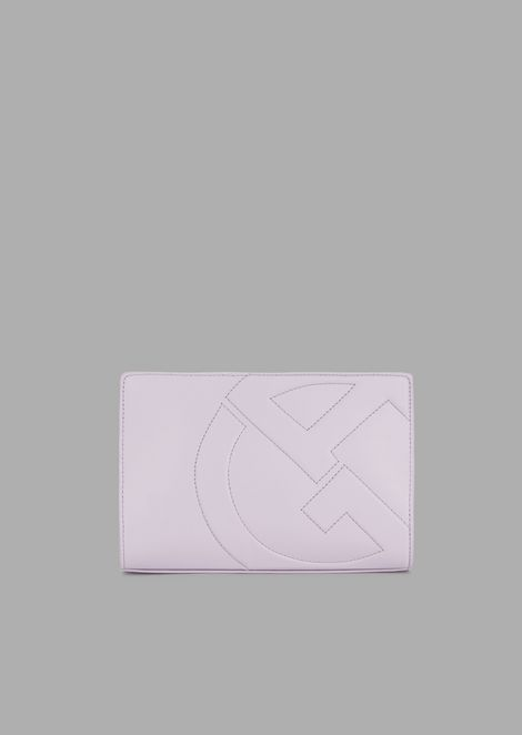 Leather crossbody bag with raised GA logo
