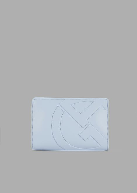 Crossbody Bag aus Leder mit GA-Logo in Relief-Optik