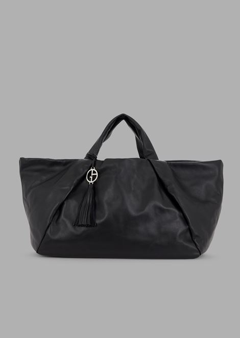5fdd2d7c2507 Color. Leather shopper with inside out seams