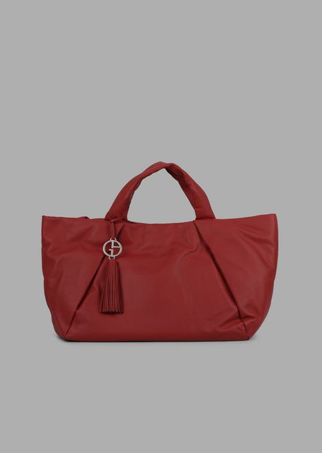 Leather shopping bag with inside-out seams