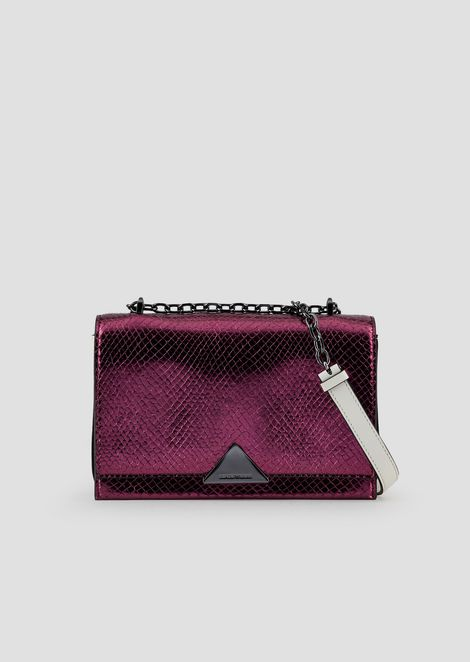 Leather shoulder bag with metallic crocodile-print front
