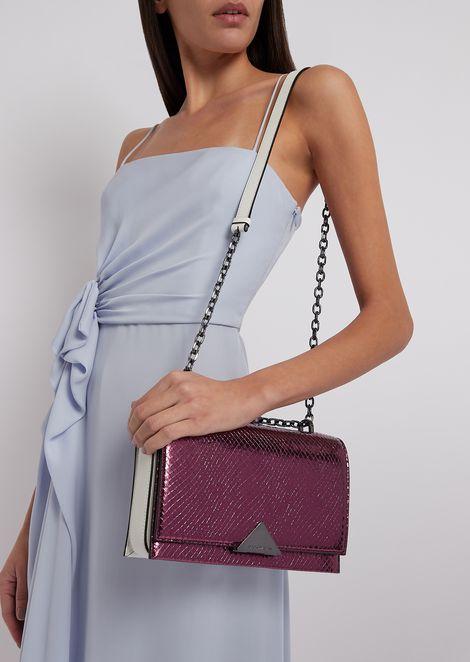Leather shoulder bag with metallic crocodile-print front