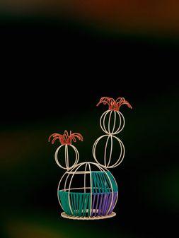 Marni MARNI MARKET cactus sculpture with 2 flowers & multicolored base Man