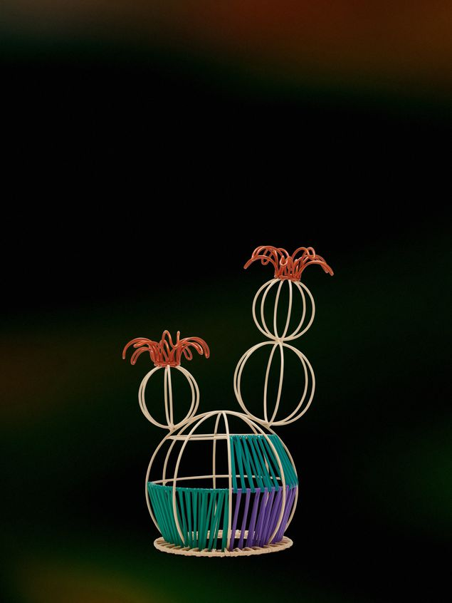 Marni MARNI MARKET cactus sculpture with 2 flowers & multicolored base Man - 1