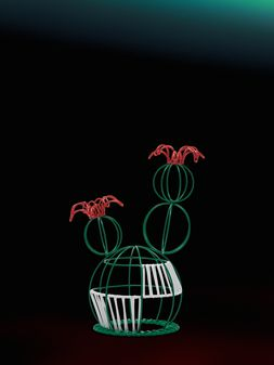 Marni MARNI MARKET cactus sculpture with 2 flowers & green and white base Man