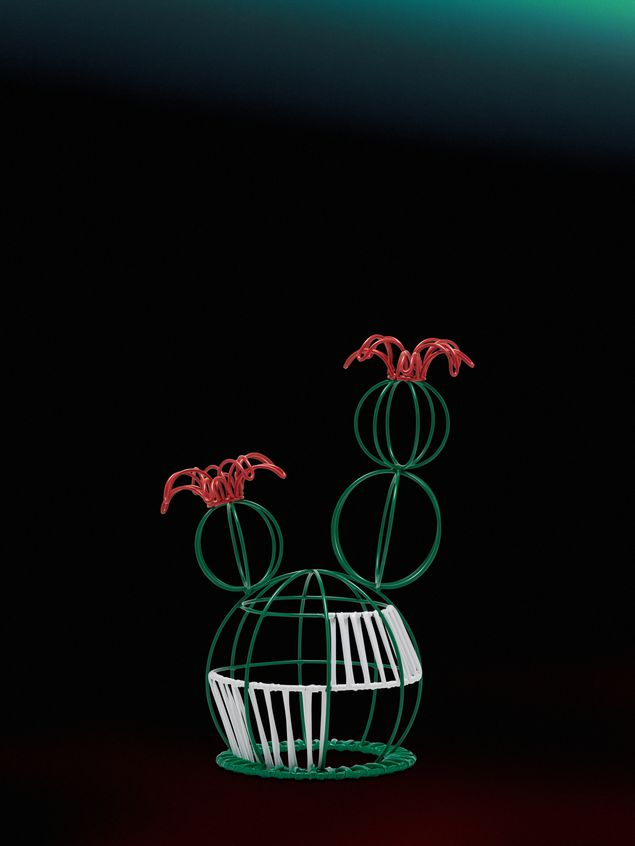Marni MARNI MARKET cactus sculpture with 2 flowers & green and white base Man - 1