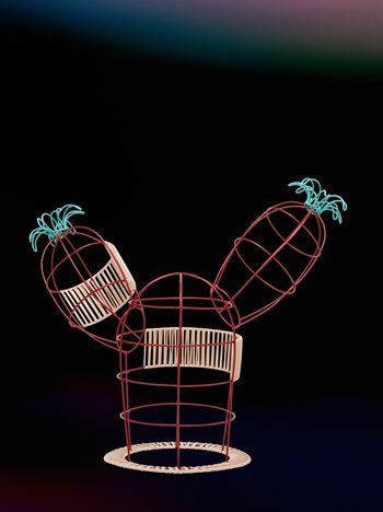 Marni MARNI MARKET cactus sculpture with 2 branches 2 flowers & beige and red base Man