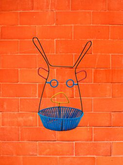 Marni MARNI MARKET basket in metal with blue base Man