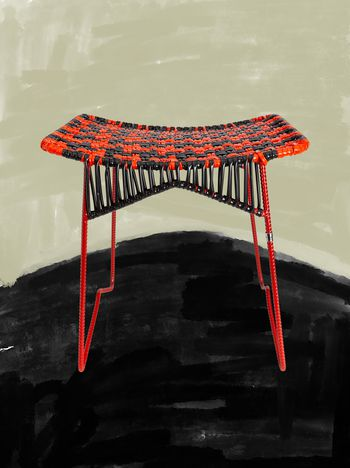 Marni MARNI MARKET iron stool with rectangular seat in red and black Man