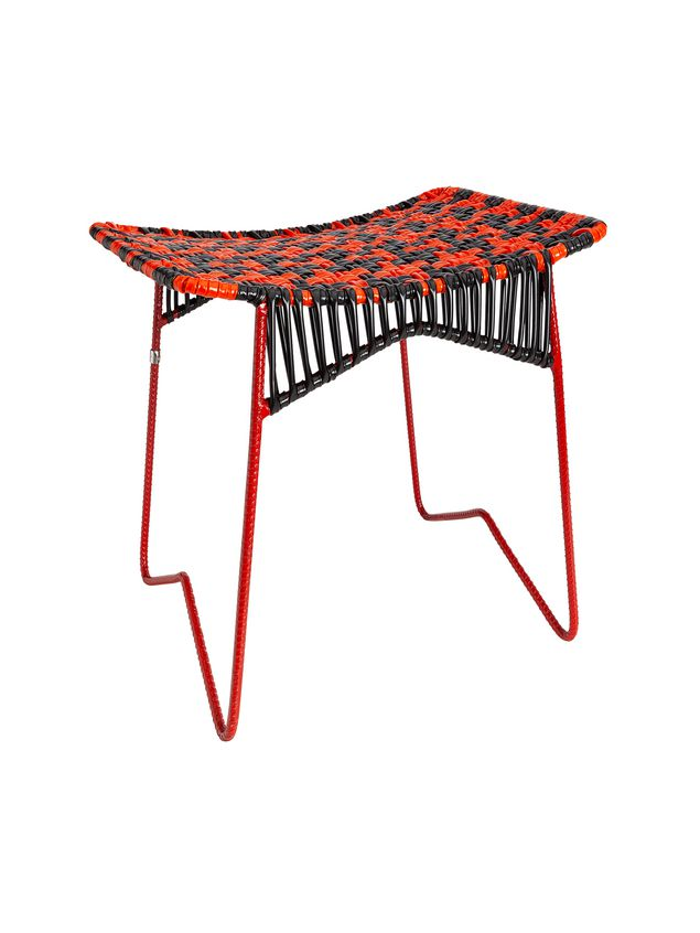 Marni MARNI MARKET iron stool with rectangular seat in red and black Man - 2