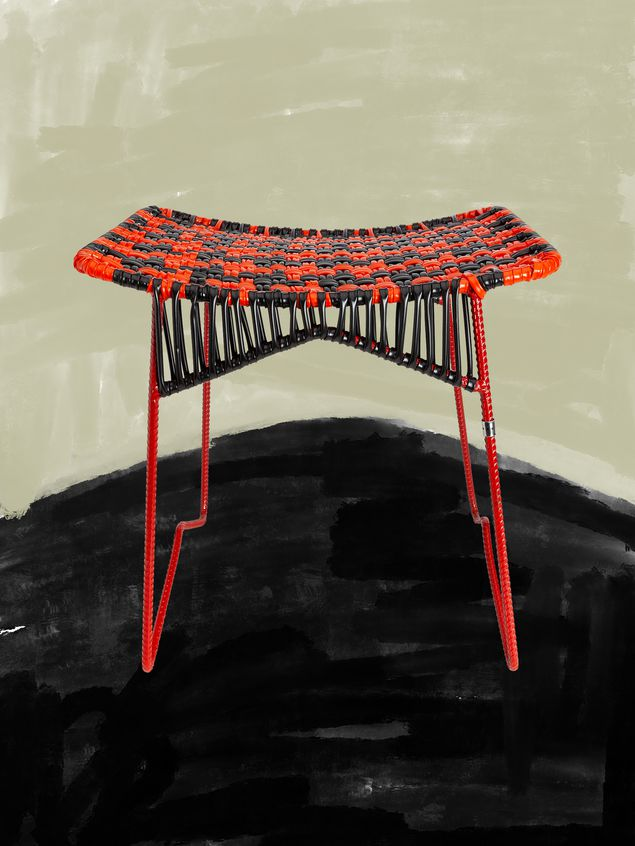 Marni MARNI MARKET iron stool with rectangular seat in red and black Man - 1