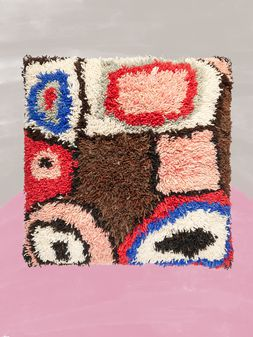 Marni Large MARNI MARKET cushion in wool, furcraea fiber and cotton with abstract pattern in pink, brown, white, red and blue Man