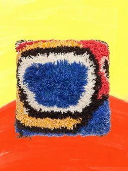 Marni Medium MARNI MARKET cushion in wool, furcraea fiber and cotton with abstract pattern in red, yellow, blue, black and white Man