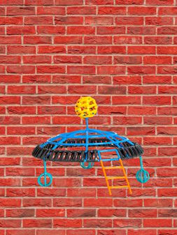 Marni MARNI MARKET UFO-shaped sculpture in iron and PVC in orange, yellow, black and blue Man