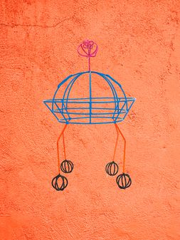 Marni MARNI MARKET UFO-shaped sculpture in iron and PVC in red, blue, orange and black Man