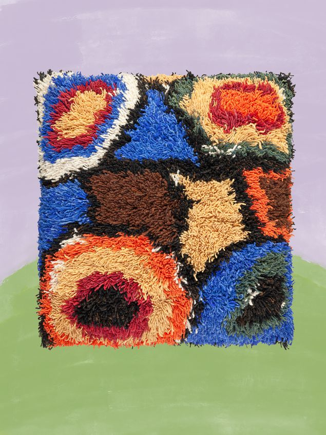 Marni Large MARNI MARKET cushion in wool, furcraea fiber and cotton with abstract pattern in yellow, blue, black, white, green and red Man - 1