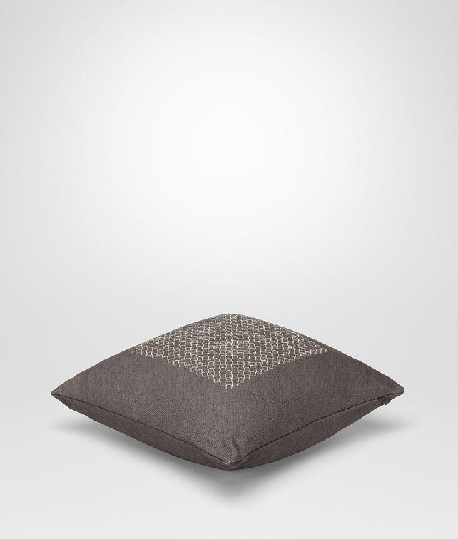 BOTTEGA VENETA Cuscino Carbone Quadrato in Lino Intrecciato Cuscino o Coperta E fp