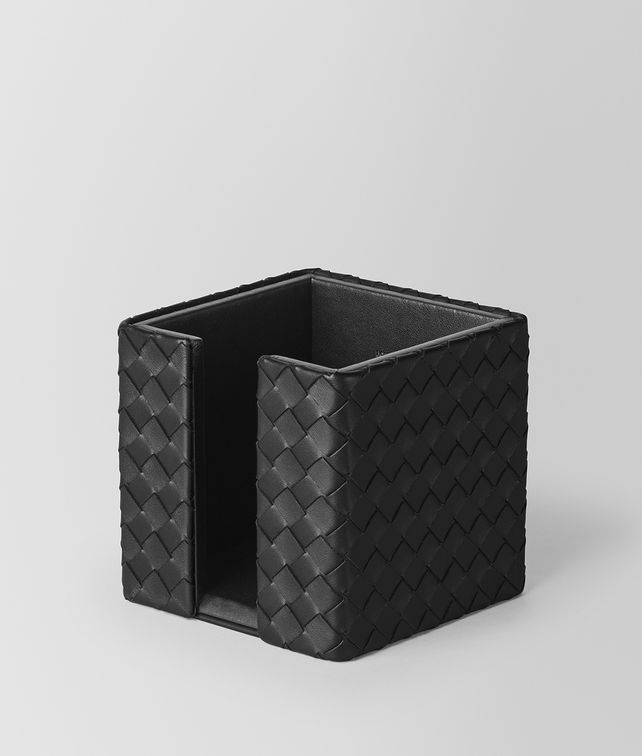 BOTTEGA VENETA MEMO PAPER HOLDER IN NERO INTRECCIATO NAPPA Desk accessory E fp