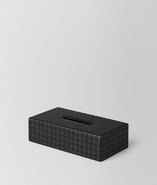 TISSUE BOX IN NERO INTRECCIATO NAPPA