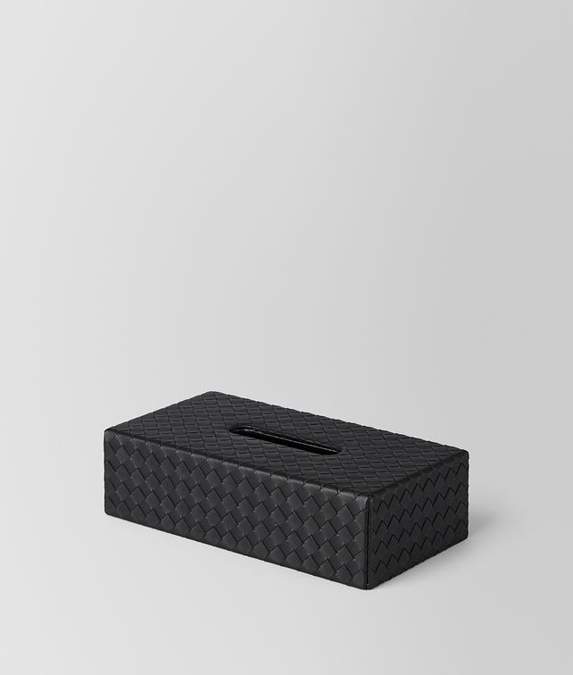 BOTTEGA VENETA NERO INTRECCIATO NAPPA LEATHER HORIZONTAL TISSUE BOX Desk accessory E fp