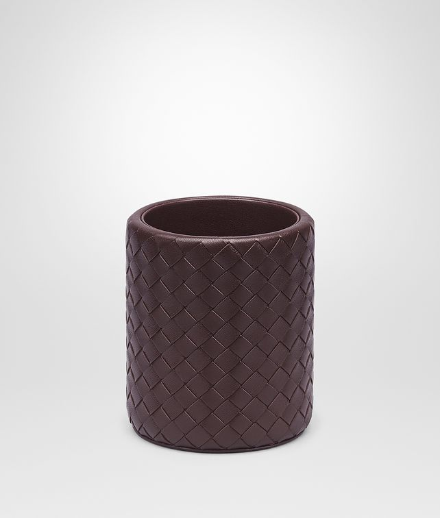 BOTTEGA VENETA Ebano Intrecciato Nappa Pencil Holder Desk accessory E fp