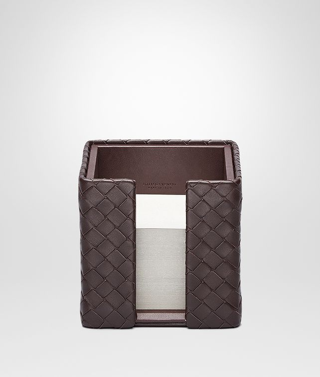 BOTTEGA VENETA Porta Block-Notes Ebano in Nappa Intrecciata Accessori da Scrivania E fp