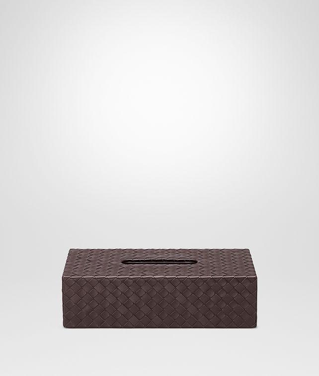BOTTEGA VENETA Horizontale Taschentuch-Box aus Nappaleder Intrecciato Ebano Schreibtisch Accessoire E fp