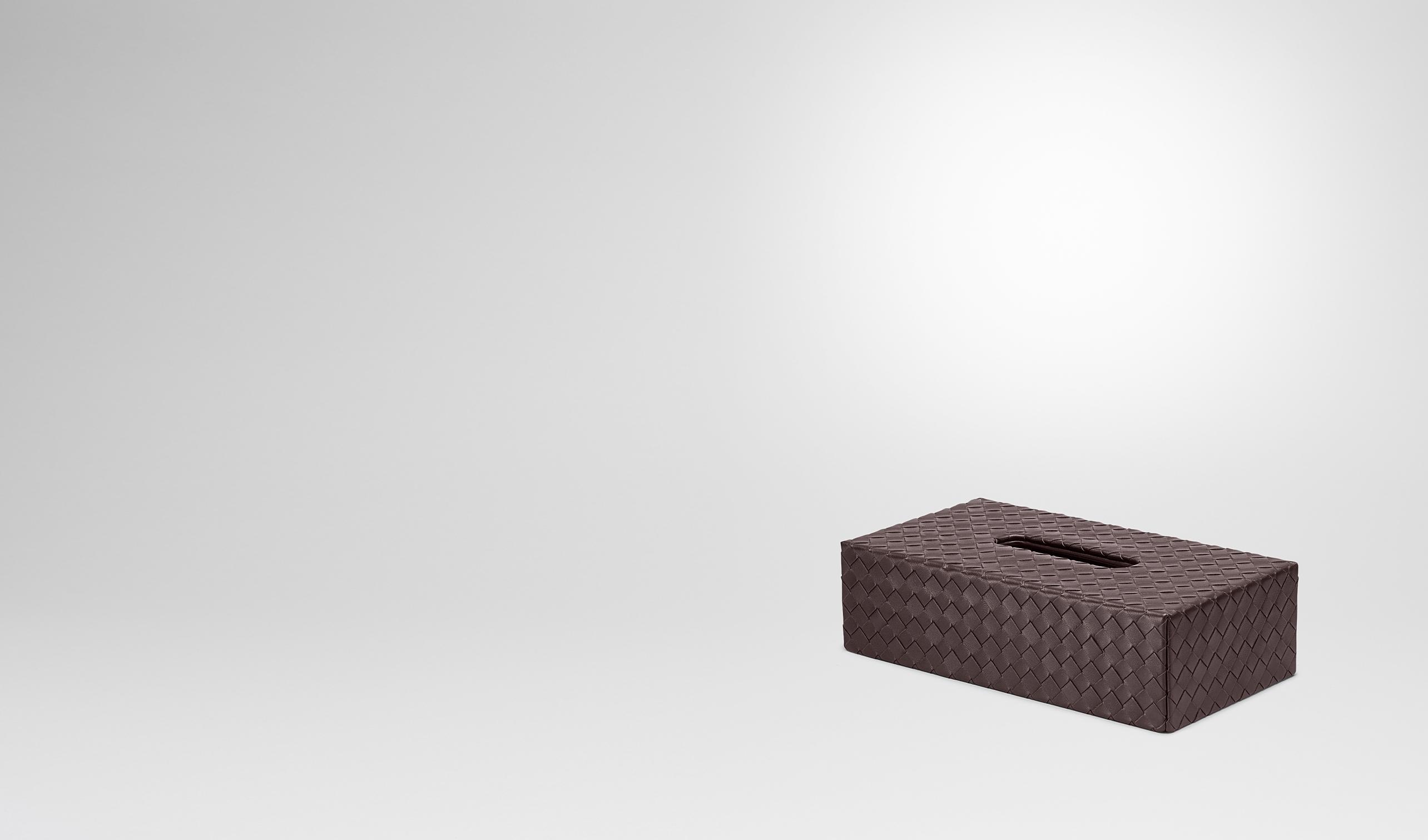 BOTTEGA VENETA Schreibtisch Accessoire E Horizontale Taschentuch-Box aus Nappaleder Intrecciato Ebano pl