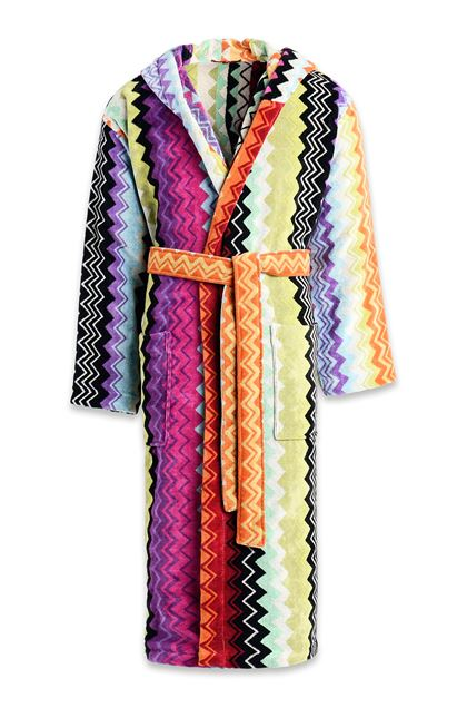 MISSONI HOME GIACOMO HOODED BATHROBE Purple E - Back