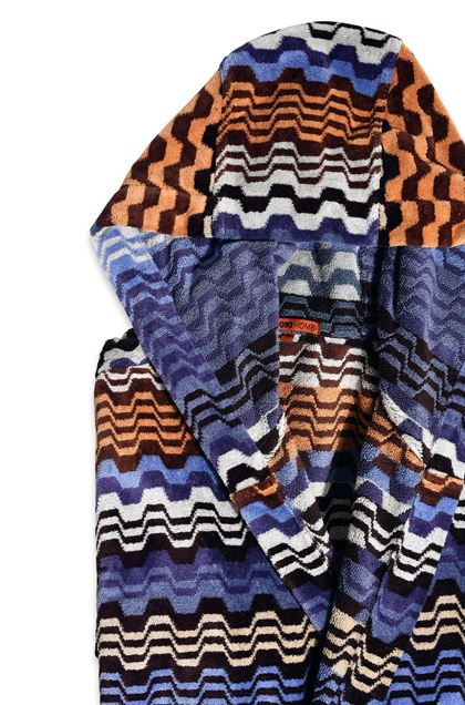 MISSONI HOME LARA HOODED BATHROBE Blue E - Front