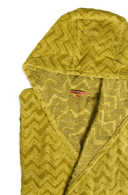 MISSONI HOME REX HOODED BATHROBE Green E - Front