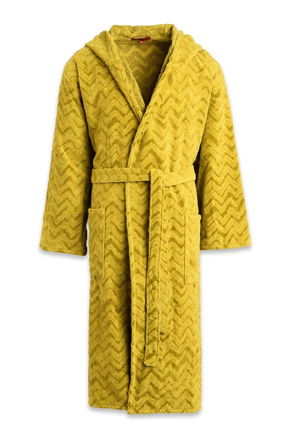 MISSONI HOME REX HOODED BATHROBE Green E